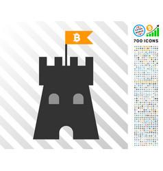 Bitcoin bulwark tower flat icon with bonus vector
