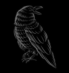 black and white of raven vector image