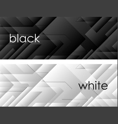 Black and white tech geometric banners vector image