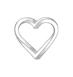black heart on white background optical of 3d vector image