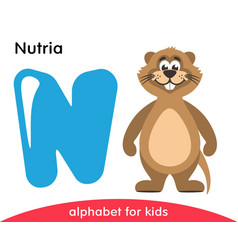 Blue letter n and brown nutria vector