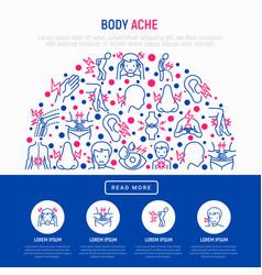 Body aches concept in half circle vector
