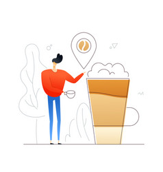 boy drinking coffee - flat design style colorful vector image