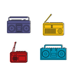 bumbox icon set color outline style vector image