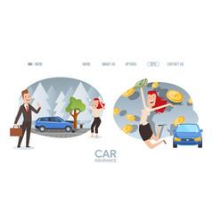 car insurance website happy woman cartoon vector image