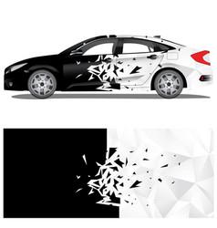 Car wrap crash art with polygon texture vector