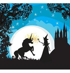 Castle Unicorn and fairy vector