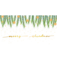 christmas pine leafs banner with golden vector image