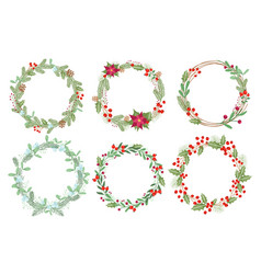christmas wreaths flat set vector image
