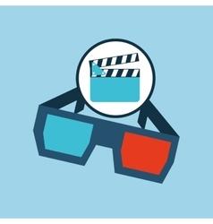Clapper glasses 3d cinema movie desing vector