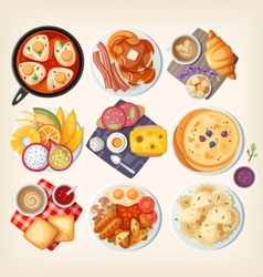 Classic breakfasts from all over the world vector