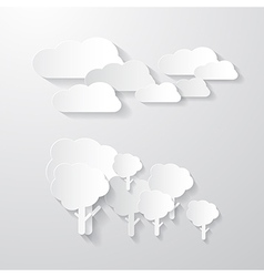 Clouds and Trees Cut From Paper Background vector image