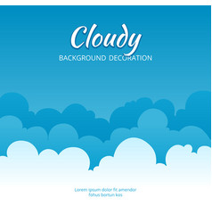 cloudy flat template fluffy clouds stylized vector image