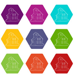 colored house icons set 9 vector image