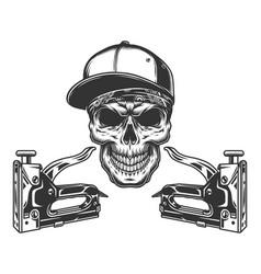 Construction staplers and skull in baseball cap vector
