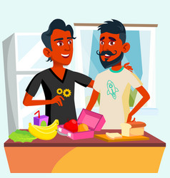 Couple of young teen gays cooking food together in vector