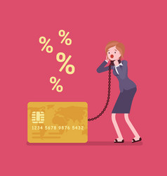 credit card and female cardholder percentage rate vector image