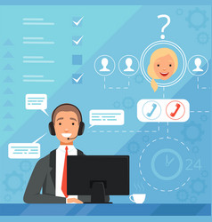 Customer service concept 24h business online vector