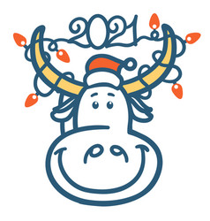 cute cartoon bull head with winter holiday lights vector image