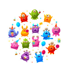 cute funny monsters characters round shape vector image