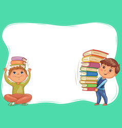 Cute kids with books blank banner vector