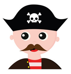 Cute pirate with a long mustache or color vector