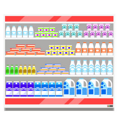 Dairy products cooler fridge at supermarket sale vector