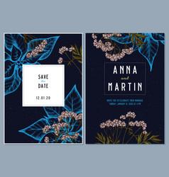 dark wedding invitation card with colored valerian vector image