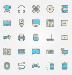 Devices colorful icons vector