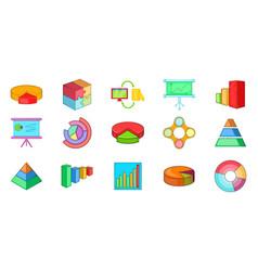 diagram icon set cartoon style vector image