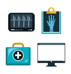 Digital healthcare icons set isolated design vector