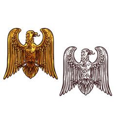 Eagle heraldic symbol sketch and gold bird vector