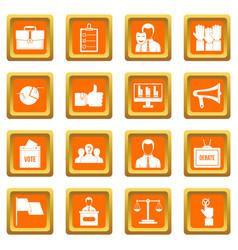 Election voting icons set orange vector