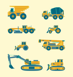 flat set construction vehicles icons vector image