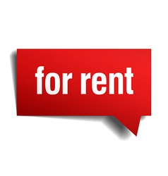 For rent red 3d realistic paper speech bubble vector