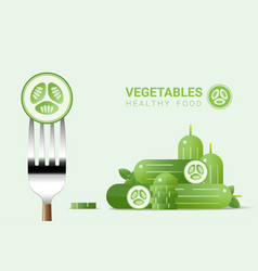 fresh cucumber on fork with pile of cucumbers vector image