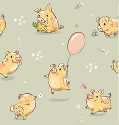 funny happy pig seamless pattern vector image