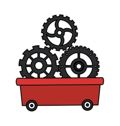 Gears inside cart design vector image