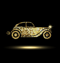 Golden car icon vector