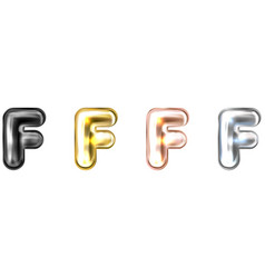Golden foil balloon inflated alphabet symbol f vector