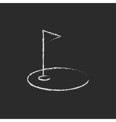 Golf hole with a flag icon drawn in chalk vector image