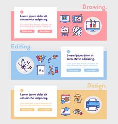 graphic design studio color linear icons set vector image