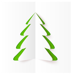 Green cutout paper Christmas tree vector image