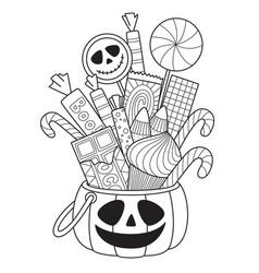 halloween pumpkin with candies doodle coloring vector image