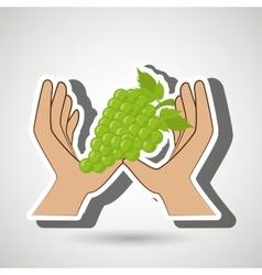 Hand food vegan fruit vector