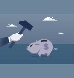 hand hold hammer broking piggy bank with savings vector image