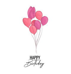 happy birthday greeting card with pink balloons vector image