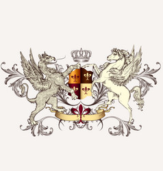 Heraldic design with griffin and horse vector