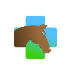 horse head in a medical cross logo vector image
