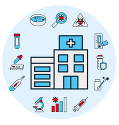 hospital building and covid19 test icon set line vector image